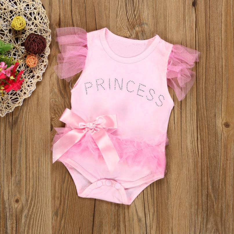 2019 New Fashion Newborn Baby Girl Clothes Bowknot Lace Princess Romper Jumpsuit Body Suit Outfits High Quality Drop Shipping