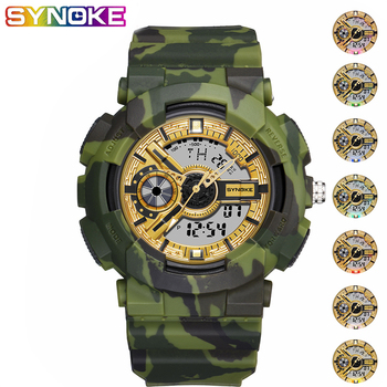 SYNOKE Men Sport Military Digital Watch Colorful Luminous Waterproof Shock Electronic Army Camouflage Double Display WristWatch