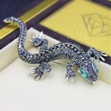 Pins Lizard Brooch For Women's Shirt Cute Silver Gifts Fashion Jewelry Metal Cute Pin Set Enamel Rhinestone Jewelry Gecko Wicca