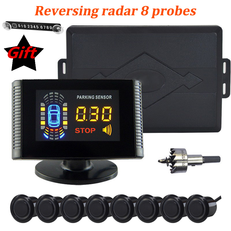 Car Parking Sensor 8 Sensors Auto Radar Detector Reversing Front Back Car Parking Radar Monitor System with LCD Display auto reversing radar 89341 28480 a0 is suitable for toyota estima parking sensors free delivery