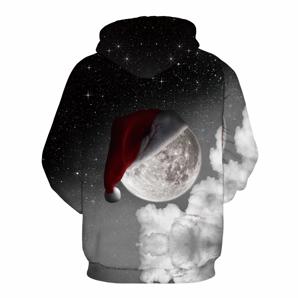 Mr.1991INC Newest Style Sky Star Christmas hat digital Print Casual Sweatshirts Men hoodie sweatshirt Hot Hooded Pullovers M151