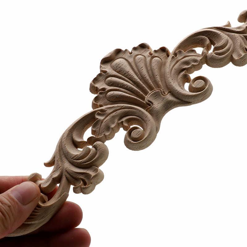 1Pc ユニークな天然花柄の木製の彫刻木製置物工芸コーナーアップリケフレーム壁ドア家具木彫装飾
