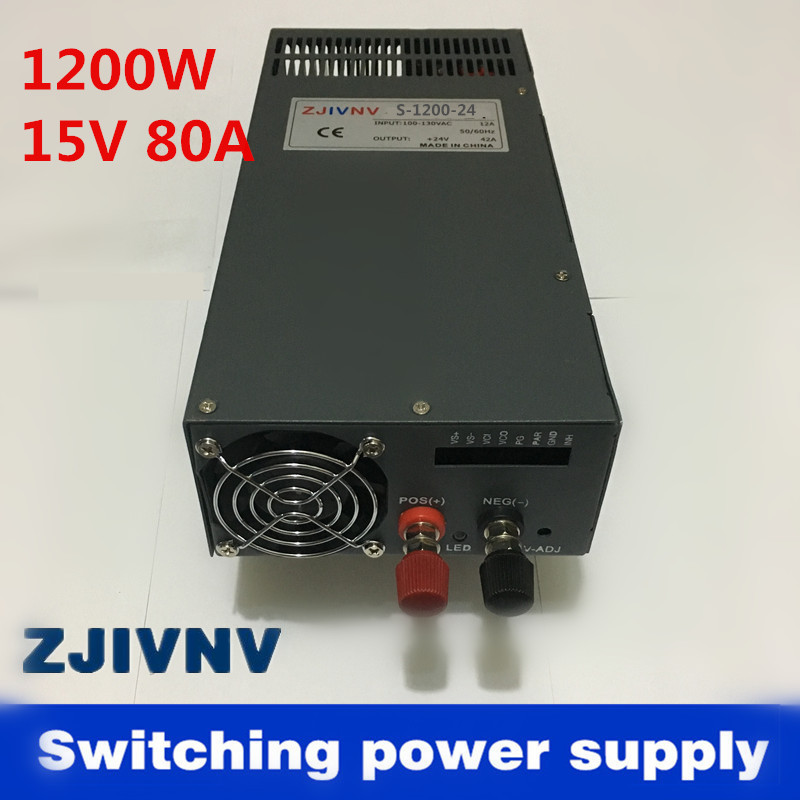 1200W 80A 15V Switching power supply for LED Strip light AC to DC power suply input 110v 220v 1200w ac to dc power supply 1200w 15v 80a single output switching power supply for led strip light ac dc s 1200 15