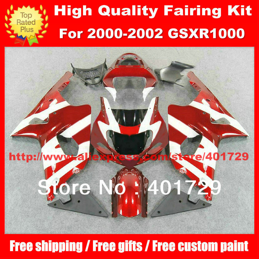 Motorcycle Parts for Suzuki GSXR1000 GSX R1000 2000 2001 2002 red/white custom race fairing kit with free windshield