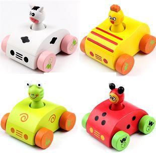 Marchio di legno per bambini che suona giocattoli auto / tirare indietro cartoon Mini auto in legno giocattoli per bambini e regali per bambini, spedizione gratuita
