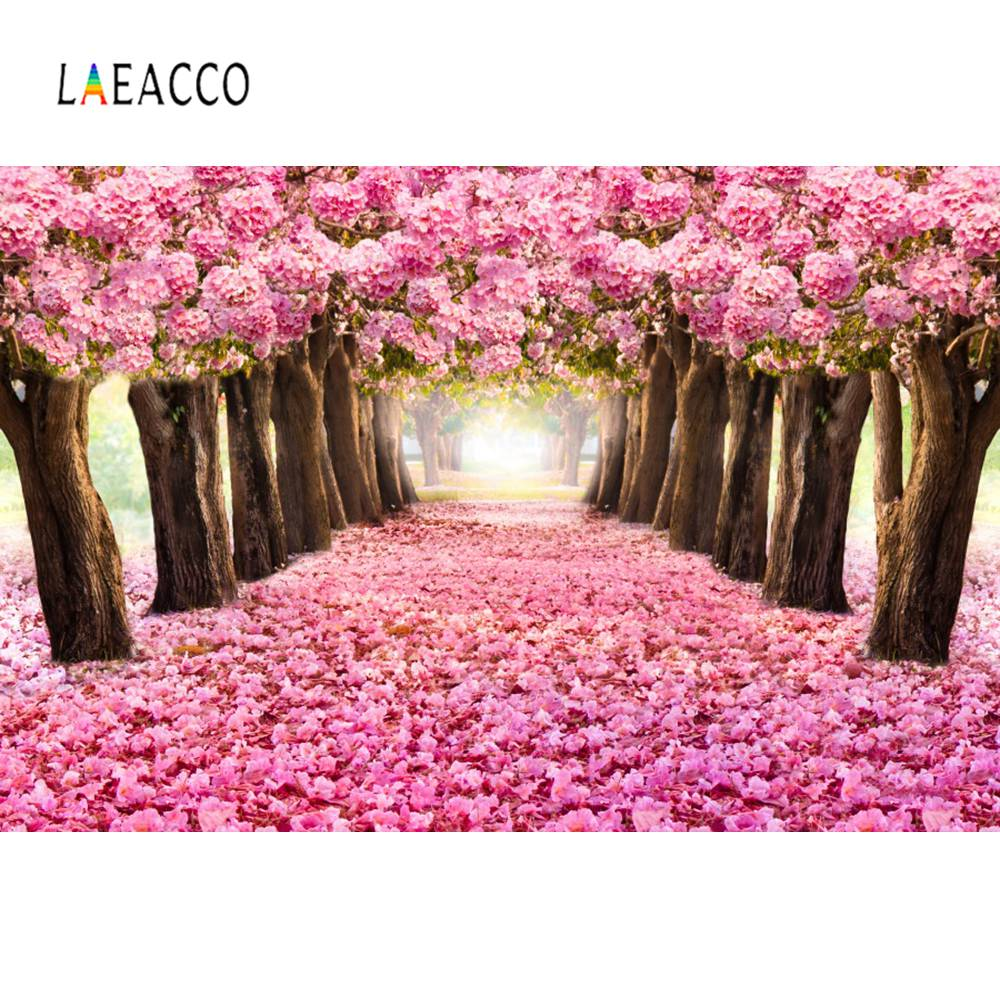 Laeacco Pink Blossom Flowers Tree Petal Way Love Romantic Child Portrait Photo Backdrops Backgrounds Photocall Studio