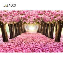 Laeacco Pink Blossom Flowers Tree Petal Way Love Romantic Child Portrait Photo Backdrops Backgrounds Photocall Studio