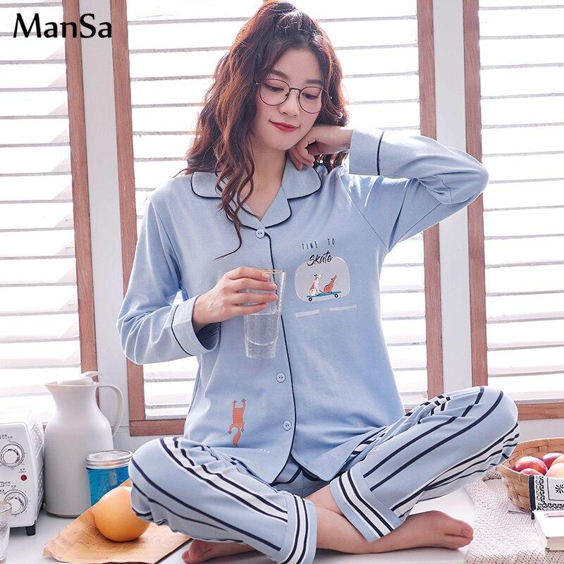 plus size 3XL Women   Pajama     sets   spring Cotton   Pajamas   Girl Printed Pyjama   Set   Long Sleeve Cardigan Sleepwear cartoon Nightshirt