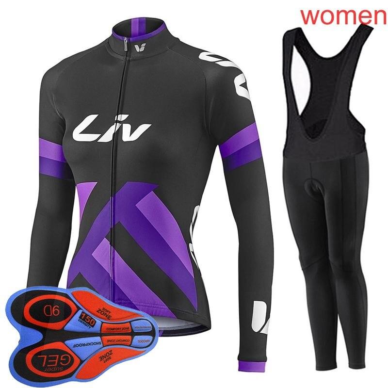 Liv 2018 femmes Sports de plein air printemps été vélo vélo cyclisme manches longues jersey bavoir pantalon ensembles 9D gel pad vtt vêtements