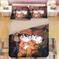 Neue Japanische Cartoon bettwäsche Charakter Detektiv Conan Bettwäsche-sets Twin Königin König Größe Bettbezug Kissen Hause Textilien