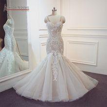 Çarpıcı 2020 mermaid düğün elbisesi tam boncuk parlak elbise