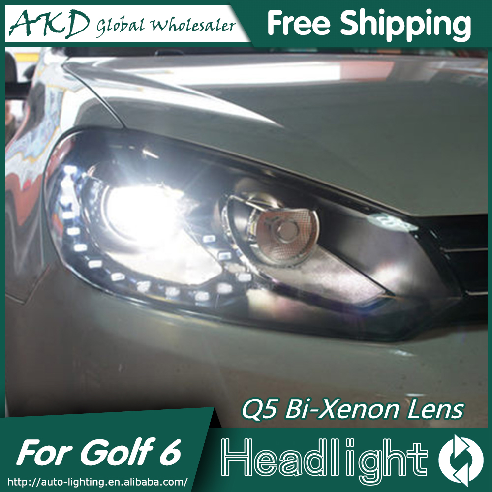 AKD Car Styling for VW Golf 6 Headlights 2012 Volkswagen Golf LED Headlight DRL Bi Xenon Lens High Low Beam Parking Fog Lamp pair of headlight assembly for vw golf 5 suitable for halogen bulbs and led headlights