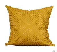 Yellow pillowcase Nordic modern minimalist American cushion cover Model room soft fit pillowcase geometric embroidery