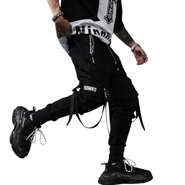 2020 Nieuwe Lente Hip Hop Broek Club Singer Stadium Kostuum Broek Linten Streetwear Joggers Joggingbroek ABZ256