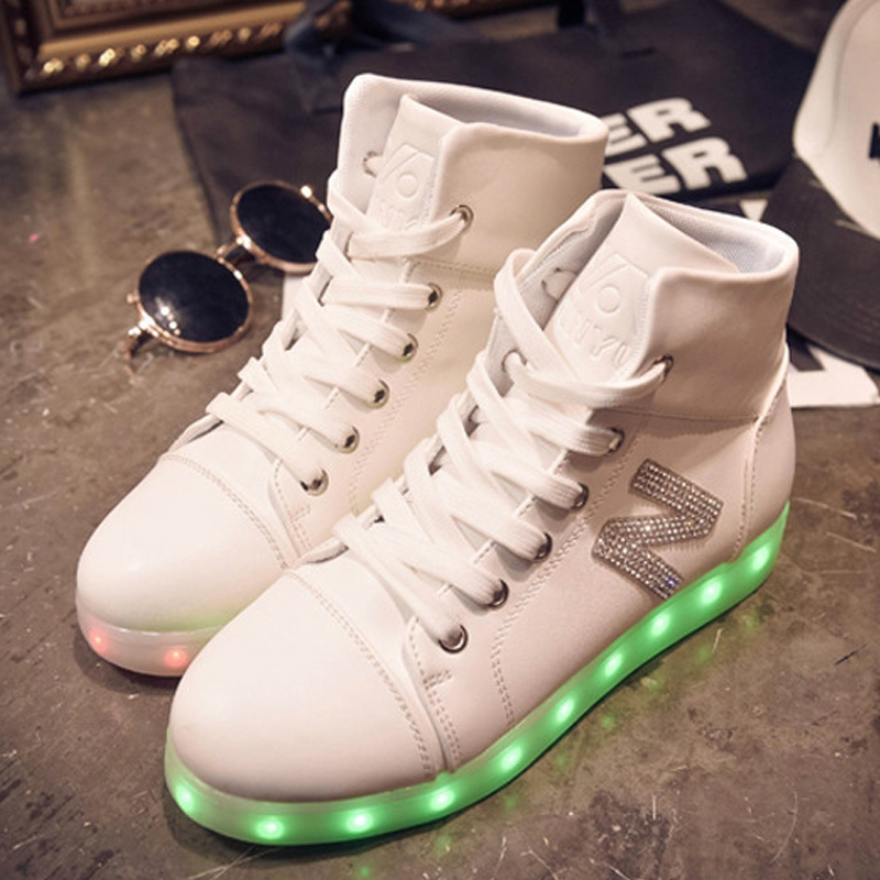 Fasshion Girls Casual Shoes High Top Simulation Women Glowing Light Up Basket Led Luminous Shoes Adult Femme Flashing Led Shoes size 36 43 led shoes glowing 7 colors led women fashion luminous led light up shoes for adults