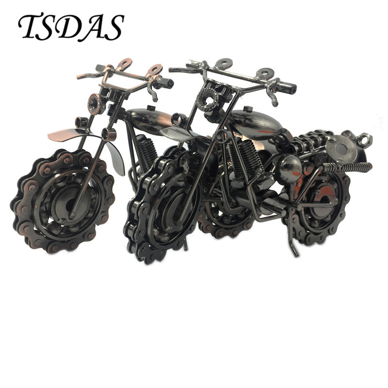 1pc 20cm Super Cool Metal Motorcycle Model Black & Bronze Handcraft Iron Model For Offic ...