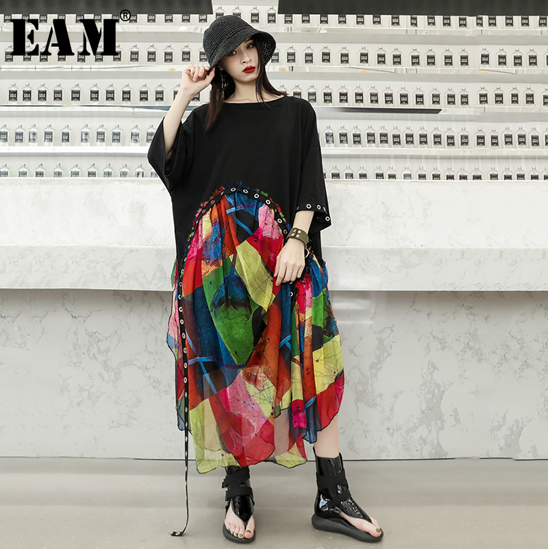 [EAM] 2020 New Spring Summer Round Neck Half Sleeve Print Pattern Bandage Chiffon Personality Big Size Dress Women Fashion JX866