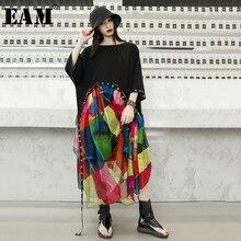 [Eam] JX866 2020 春夏新作ラウンドネック半袖プリントパターン包帯シフォン人格ビッグサイズのドレスの女性ファッション