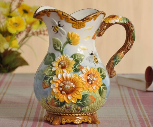 Ceramic Creative Sunflower Flowers Vase Coffee Pot Home
