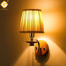 Modern LED Bedside Wall Light Fixture Hotel Bed Home Lighting E14 Bulb Sconce Fabrics Glass Aluminum Indoor Mounted Wall Lamps недорого
