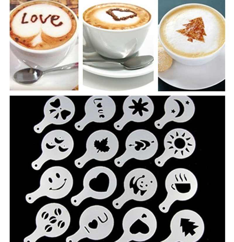 16 個コーヒーラテカプチーノバリスタアートステンシルケーキダスターテンプレートコーヒーツールアクセサリー