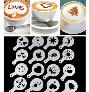 16Pcs Coffee Latte Cappuccino Barista Art Stencils Cake Duster Templates Coffee Tools Accessories(China)