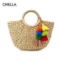 Women Beach Bag Tassels Handbag Female Bamboo Bags Straw Bucket Ladies Moon Shaped Girls Weave Tote