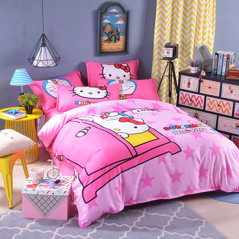 UNIKIDS Cute cartoon duvet cover set bedding set for Kids boy or girls Twin size KT002 blue pink cartoon london buss star shaped polka dot print bedding set queen size for girls home decor cotton duvet quilt covers