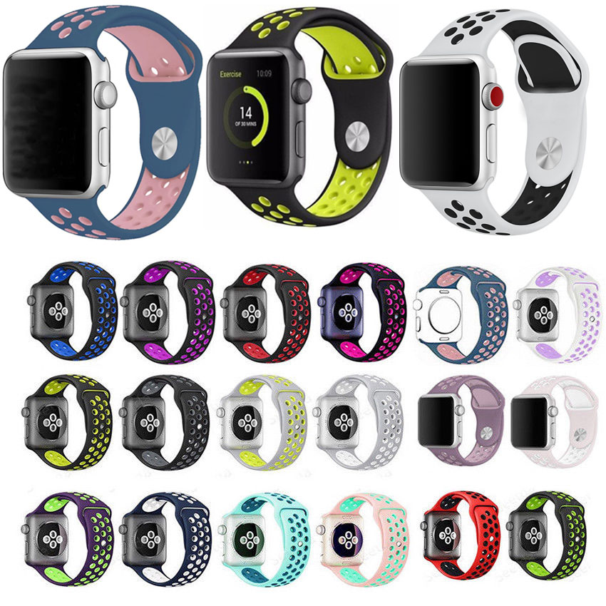 New Sport Silicone Strap For Apple Watch Band 40mm 44mm Correa Apple Watch 42mm 38mm Bracelet Wrist Watchband IWatch 5/4/3/2/1