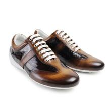 handmade Brand 2017 Fashion Newest Fashion Vintage Slip On Mens Male Leisure Flat Sports Shoes 100% Genuine Leather Man Footwear