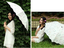 Small Fresh Full Automatic Anchor Triple Folding Sunshine Umbrella Sunshade Umbrella Black Rubber Sunscreen Umbrella