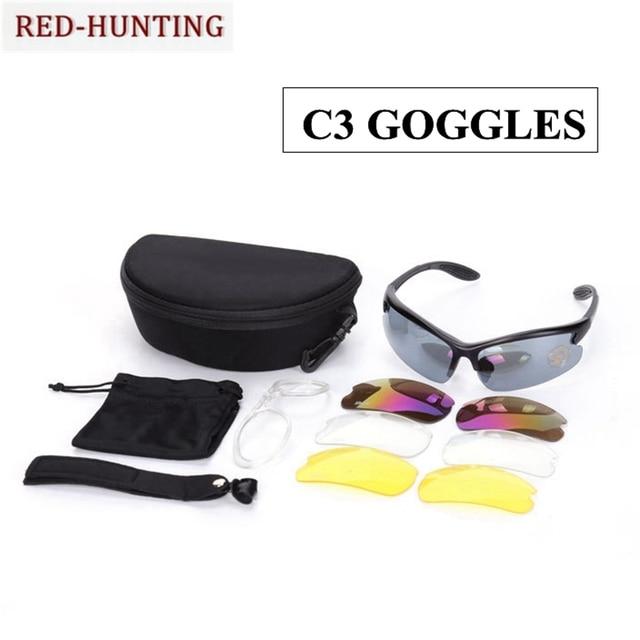 f9fbee2c08daa Óculos de Proteção táticos C3 UV400 Condução Pesca Ciclismo Corrida de Caça Caminhadas  Óculos De Sol