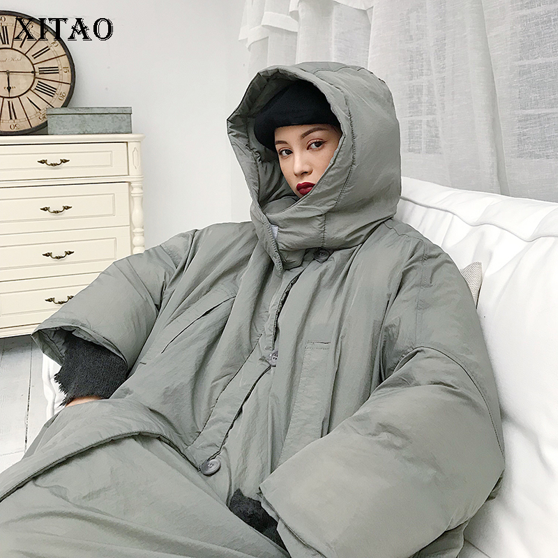 [XITAO] Winter 2018 Korea Fashion New Women Full Sleeve Long Thick Single Breasted Solid Color Loose Casual   Parka   LYH1973