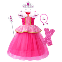 AmzBarley Girls Princess Aurora Costume Lace Voile Fancy Birthday Party Halloween Cosplay Dress Up Kids Butterflies Ball Gown