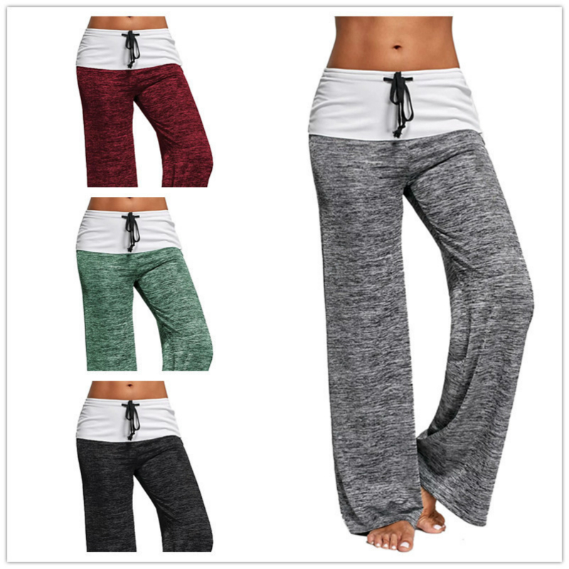 LOSSKY 2018 Autumn New European And American Style Women's Tether High Waist Casual Pants Loose Wide Leg Pants For Female