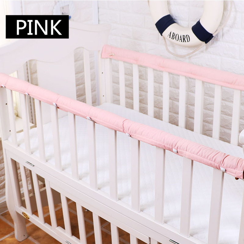 2 Pcs/set Plain Color Crib Bumper Thickened Baby Bedside Protective Bar Anti-collision Barrier Cover For Infant Protection Strip