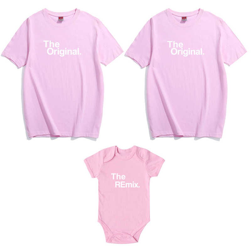 Family Matching Clothes The Original The Remix Mother and Daughter Family Daddy Son of The Letter T Shirts Family Matching Suits