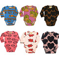 BBK 2016 new INS baby clothes Kids Long Sleeve Jumpsuit Cotton Fries& mouth& pig & letter pattern newborn baby girl clothes set