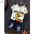 2016 Summer baby Boy Suits casual letter Cartoon bear T-shirt + Denim Hole short 2pcs set children clothing cotton new arrivals