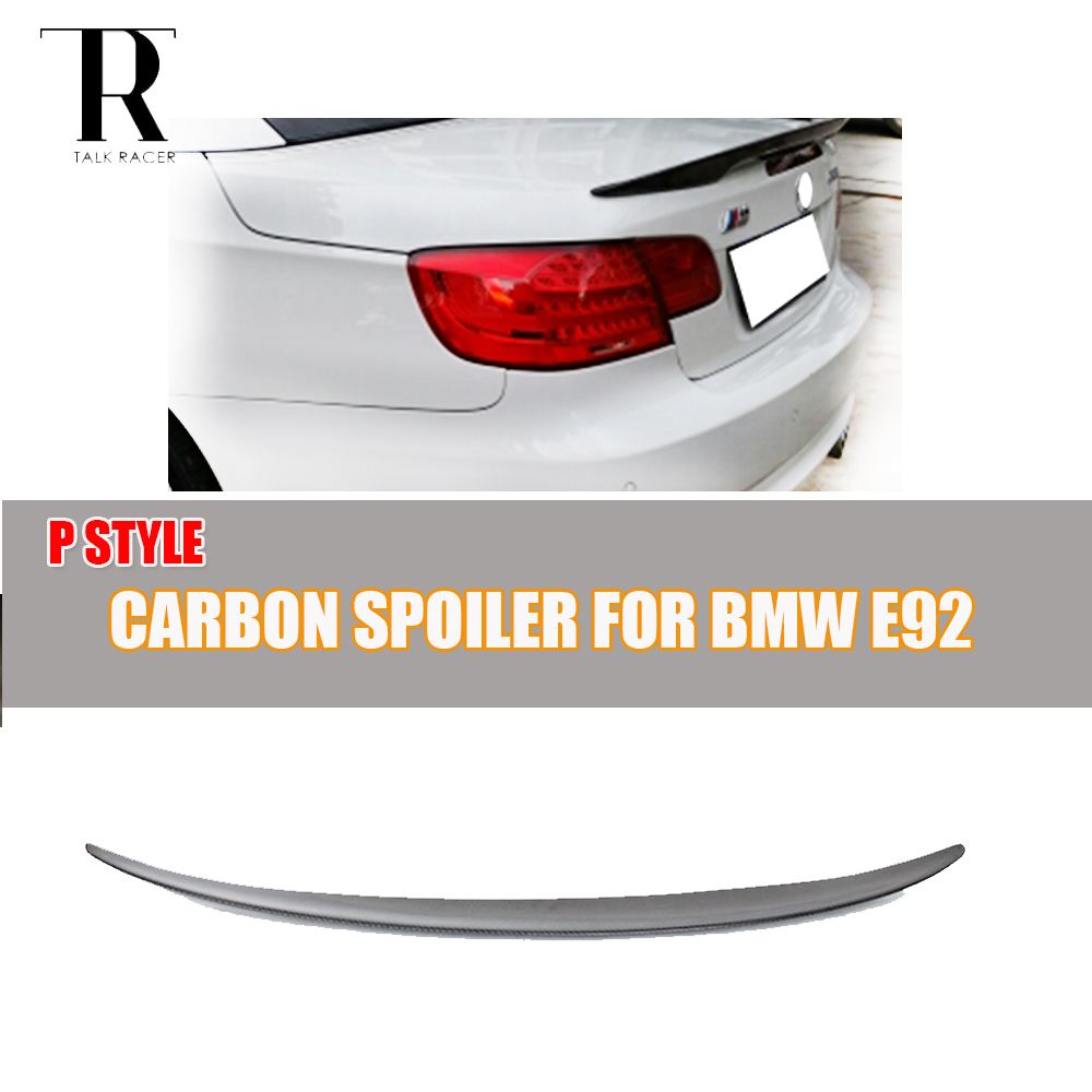 E92 P Style Carbon Fiber Rear Trunk Spoiler for BMW E92 Coupe 320i 325i 328i 330i 335i 320d 325d 330d 335d M3 2 Door 2005 - 2011 3 serier carbon fiber rear diffuser spoiler for bmw e92 e93 m sport coupe convertible 2005 2011 335i grey frp new style