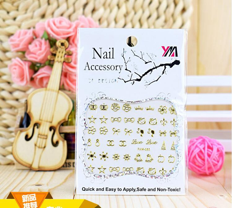 30 Pcs/set Quality 3D Adhesive GOLD-black Colors Nail Art Nails Stickers Transfer Butterfly Spider Zips Decals NTK19