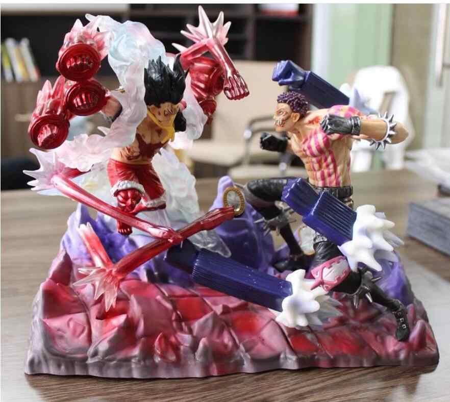 26 centímetros anime Japonês figura one piece luffy VS Charlotte Katakuri lutando ver action figure collectible modelo brinquedos para meninos
