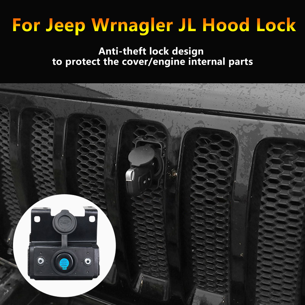 Image 3 - MOPAI Car Grilles Smart Locks Cover for Jeep Wrangler JL 2018 Car Hood Latch Catch Lock Kit for Jeep JL Wrangler Car Accessories-in Locks & Hardware from Automobiles & Motorcycles