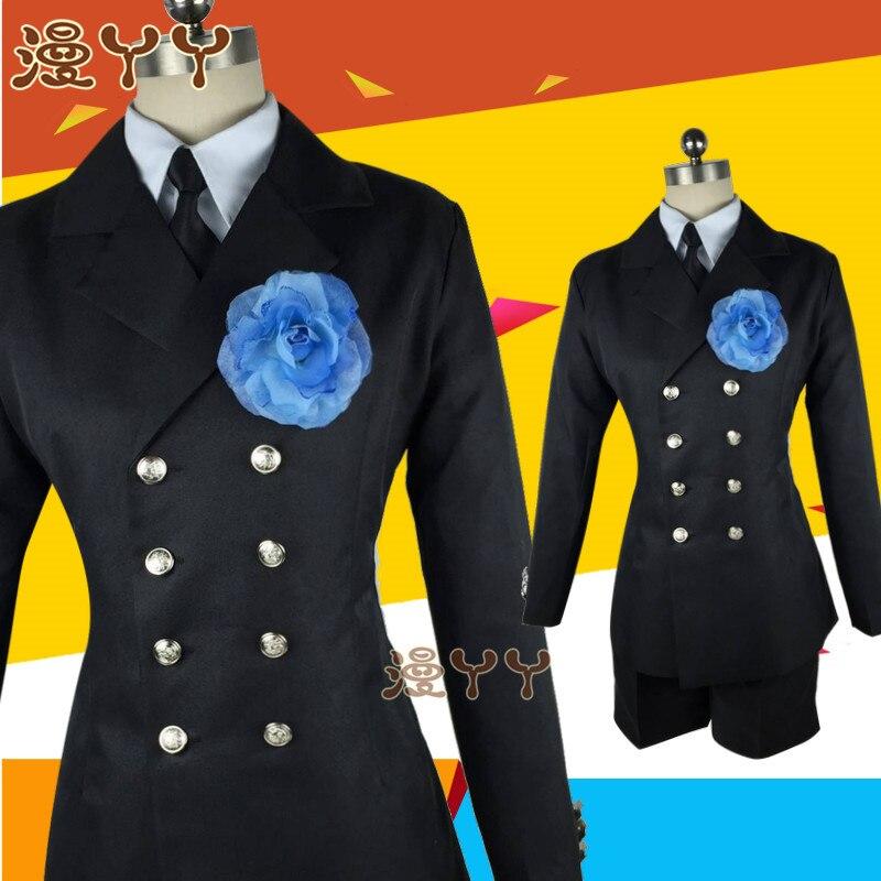 Costume funéraire Cos kuroshisuji Anime chaud noir majordome Ciel fantôme Cosplay quotidien vêtements ensemble ont chapeau cape anneau lunettes - 3