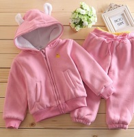 2Pcs Autumn Winter Boys Girls Coats Children Sets Plush Warm Toddler Hoodies Top Long Sleeve Sweatshirt + Pants Clothes