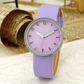 2016 New Fashion Casual Simple Women's Wrist Watch Analog Quartz Watches Unisex Round Purple Dial Leather Band Solid