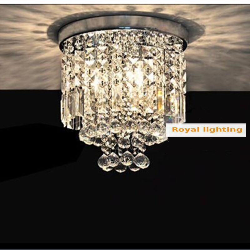 Milan mini porch light dining room round crystal ceiling lamp E27 Led bulb clear crystal Kitchen lighting Corridor ceiling light