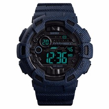Digital Sport Men Watch Camouflage Denim 50m Waterproof Chronograph Date Alarm Count Down Military Wrist Watches for Men Outdoor все цены