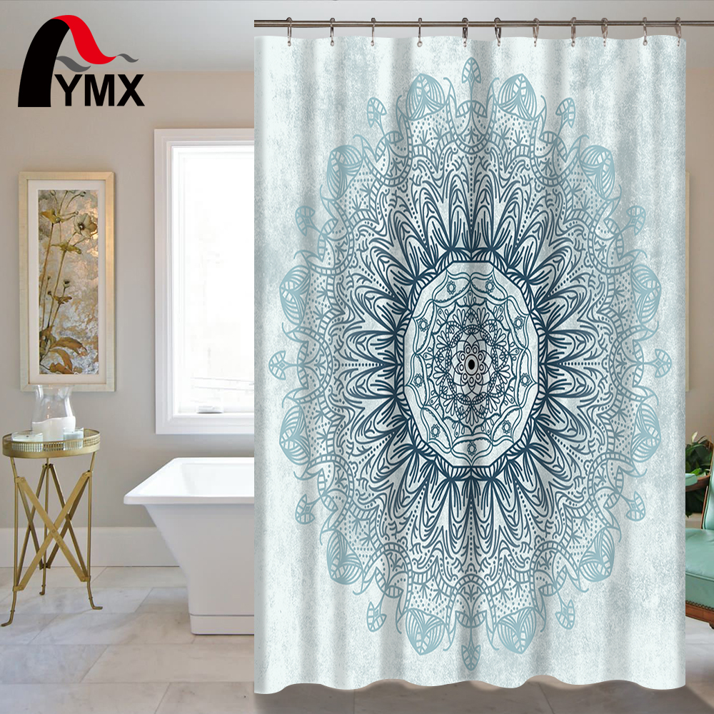 Indian Mandala Shower Curtain Lotus Printed Bohemian Waterproof ...