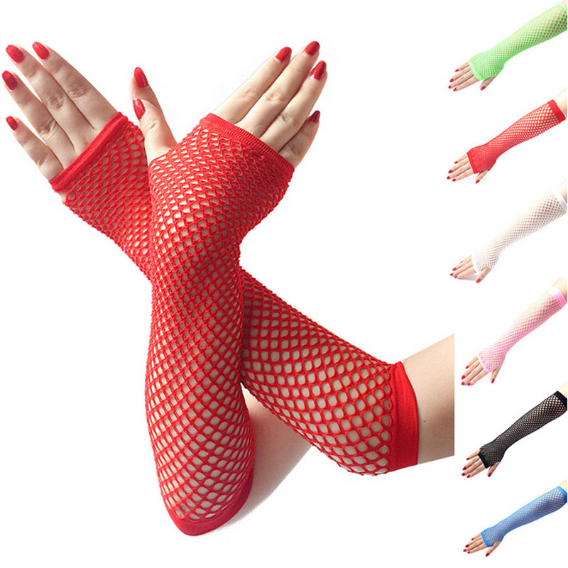 Ladies Girls Neon Sexy Long Fingerless Fishnet Lace High Elasticity Gloves Hand Gloves Guantes Eldiven Handschoenen 40FE15